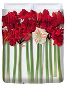 Red Amaryllis With Butterfly Duvet Cover