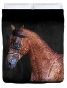 Red Ancient Horse No 01 Duvet Cover