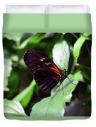 Red And Black Butterfly In The Garden Duvet Cover