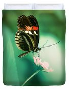 Red And Black Butterfly On White Flower Duvet Cover