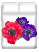 Red And Blue Anemone Flowers  Duvet Cover