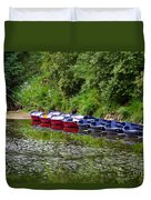 Red And Blue Boats On The River Coquet Duvet Cover