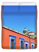 Red And Blue Colonial Architecture Duvet Cover