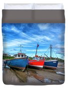 Red And Blue Fishing Boats Tenby Port Duvet Cover
