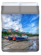Red And Blue Fishing Trawler In Low Tide Duvet Cover