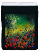 Red And Blue Poppies 67 1524 Duvet Cover