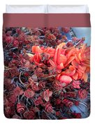 Red And Burgundy Succulent Plants Duvet Cover