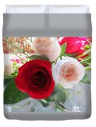 Red And Cream Tea Roses In Crystal Duvet Cover