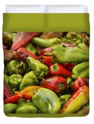 Red And Green Peppers Duvet Cover