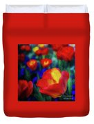 Red And Orange Tulips Duvet Cover