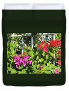 Red And Purple Flowers Duvet Cover