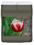 Red And White Bloom Duvet Cover