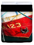 Red And White Boat Detail Duvet Cover