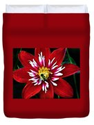 Red And White Flower With Bee Duvet Cover