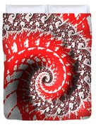 Red And White Fractal Duvet Cover