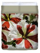 Red And White Petunia Duvet Cover
