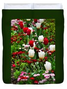 Red And White Tulips With Red And Pink English Daisies In Spring Duvet Cover