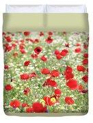 Red And White Wild Flowers Spring Scene Duvet Cover