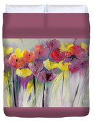 Red And Yellow Floral Field Painting Duvet Cover