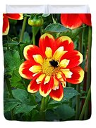 Red And Yellow Flower With Bee Duvet Cover