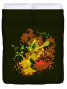 Red And Yellow Flowers Abstract Duvet Cover
