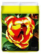 Red And Yellow Tulip Duvet Cover