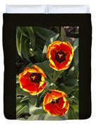 Red And Yellow Tulip Trio    Spring  Indiana Duvet Cover