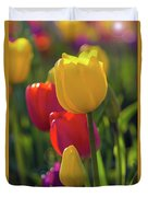 Red And Yellow Tulips Closeup Duvet Cover