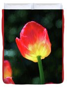 Red And Yellow Tulip - Photopainting Duvet Cover