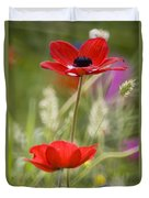 Red Anemone Coronaria In Nature Duvet Cover