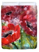 Red Anemone Flowers Duvet Cover