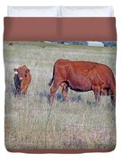 Red Angus Cow And Calf Duvet Cover