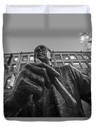 Red Auerbach Chilling At Fanueil Hall Black And White Duvet Cover