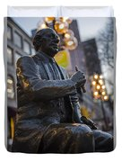 Red Auerbach Chilling At Fanueil Hall Side Duvet Cover
