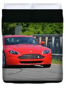 Red Auston Martin Leaving Pit Lane Duvet Cover
