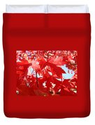 Red Autumn Leaves Art Prints Canvas Fall Leaves Baslee Troutman Duvet Cover