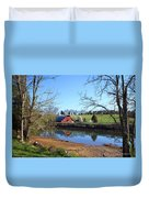 Red Barn And Pond Duvet Cover