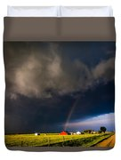 Red Barn And Rainbow Duvet Cover
