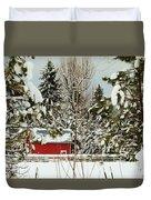 Red Barn At Christmas Duvet Cover