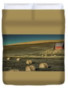 Red Barn At Haying Time Duvet Cover