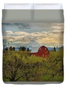 Red Barn At Pear Orchard Duvet Cover