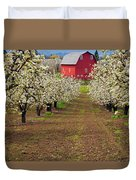 Red Barn Avenue Duvet Cover by Mike  Dawson