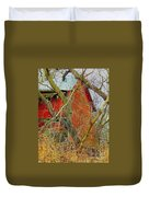 Red Barn Behind The Trees Duvet Cover