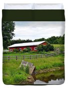 Red Barn By The Lake Duvet Cover
