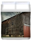 Red Barn Doors Duvet Cover by Stephanie Calhoun