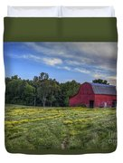 Red Barn In A Yellow Field  Duvet Cover