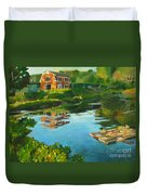 Red Barn In Kennebunkport Me Duvet Cover
