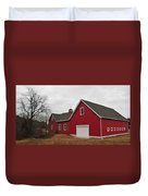 Red Barn On A Grey Day Duvet Cover