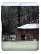 Red Barn On The Drive Duvet Cover