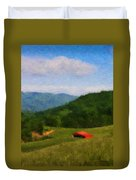 Red Barn On The Mountain Duvet Cover